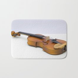 violin on a gray background Bath Mat