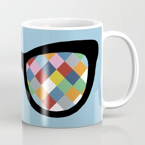 Diamond Eyes on Blue Mug
