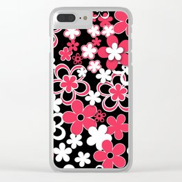 Red and white paper flowers 3 Clear iPhone Case