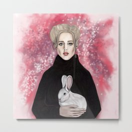 girl with the rabbit Metal Print