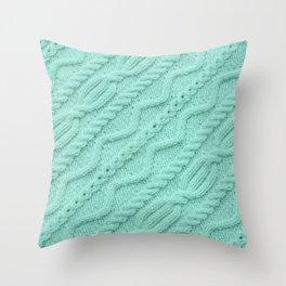 Seafoam Mint Cableknit Throw Pillow