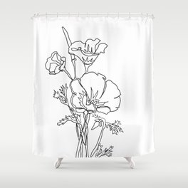 California poppy botanical minimalist line art Shower Curtain