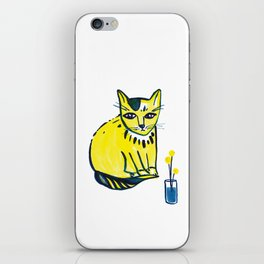 Yellow Cat with Craspedia iPhone Skin
