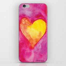 Golden Heart Watercolor Valentine iPhone Skin