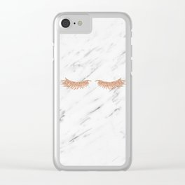 Rose gold marble lash envy Clear iPhone Case