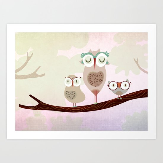Mother owl and children Art Print