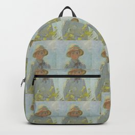 Monet- extract from Woman with a Parasol or the stroll, nature,Claude Monet,impressionist Backpack