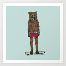 Bear + Skateboard Art Print