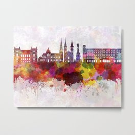 Linz skyline in watercolor background Metal Print