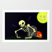 Spooky Scary Skeleton Art Print