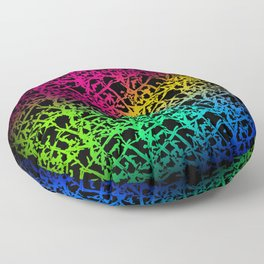 Fluttering pattern of neon squiggles and light pink ropes on a black background. Floor Pillow