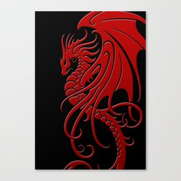 Flying Red and Black Tribal Dragon Canvas Print