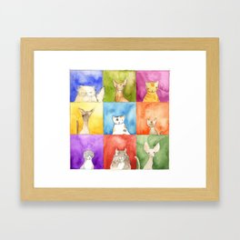 Cats in Squares Framed Art Print