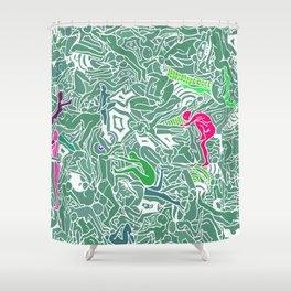 Body Map - Sea Green Shower Curtain