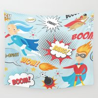 heroes Wall Tapestries featuring Super Heroes by Petit Griffin