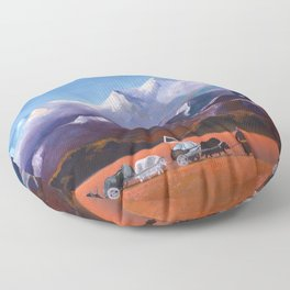 Nomadic Life - Mongolian Steppes Floor Pillow