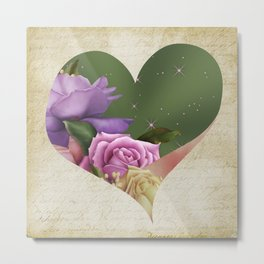 Heartfelt Love Letter & Roses Metal Print
