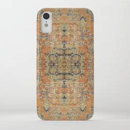 Vintage Woven Coral and Blue Kilim iPhone Case