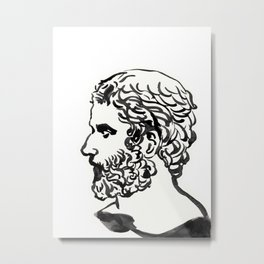Head of Roman sculpture,marble bust, profile, Greek and Roman sculpture painting Metal Print