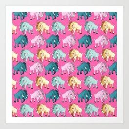 Cute Pink Kawaii Wild Boar Watercolor Pattern Print Art Print