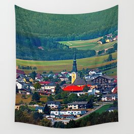 The village, the forest and the mountains Wall Tapestry