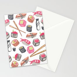 Cute Trendy Watercolor Sushi Sake and Chopsticks Stationery Cards