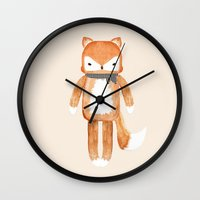 mr fox Wall Clocks featuring Mr. Fox by Shannon McCullough-Wight