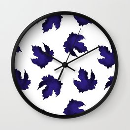 Blue leaves pattern Wall Clock