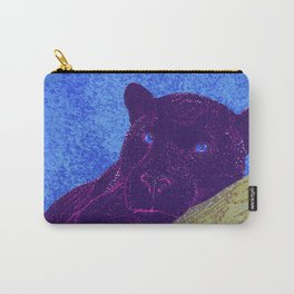 Purple panther on a branch - Blue Carry-All Pouch