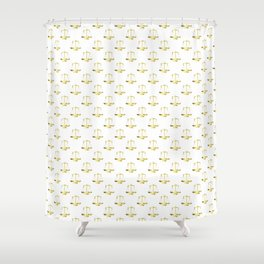 Gold Scales Of Justice on White Repeat Pattern Shower Curtain