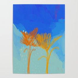 Line Floral On Pastel Sky Poster