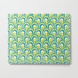 Marbling Peacock - Citrus Metal Print