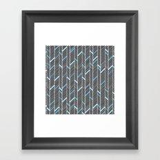 Herringbone Black and Blue Framed Art Print