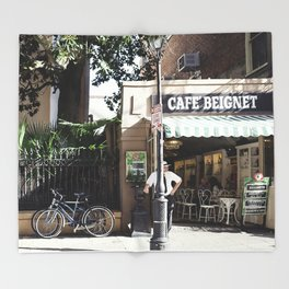New Orleans Cafe Beignet Throw Blanket