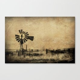 Old Windmill • Sepia • Western • Infrared • Texture Canvas Print