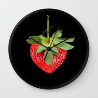 strawberry Wall Clocks featuring strawberry by Arevik Martirosyan