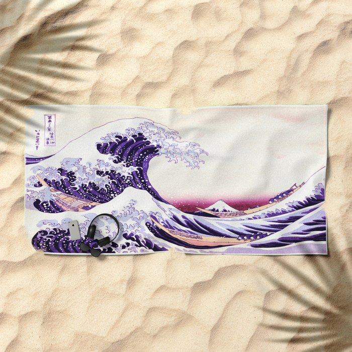 The Great wave purple fuchsia Beach Towel