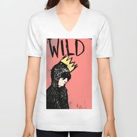 into the wild V-neck T-shirts featuring Wild by Kristina K.