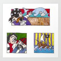pirates Art Prints featuring Pirates by Rayna Polsky