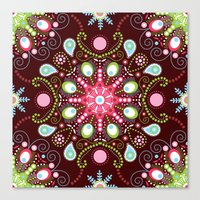 Pointillism mandala | Brown, red and green Canvas Print