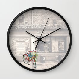 Red Bicycle in front of a Kennedys Bar Ireland Wall Clock