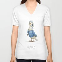 donald duck V-neck T-shirts featuring Real Life Donald Duck by onez