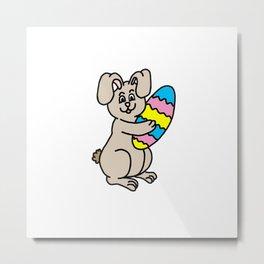 Easter Bunny And Egg Metal Print