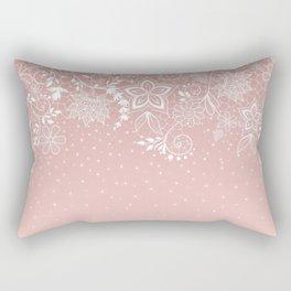 Elegant white lace floral and confetti design Rectangular Pillow