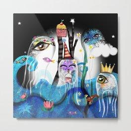 2020 night happy birthday underwater blue transparency cupcake octopuses  Metal Print