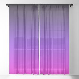 Black Purple and Neon Pink Ombre Sheer Curtain