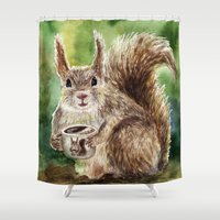 squirrel Shower Curtains featuring Squirrel by Anna Shell