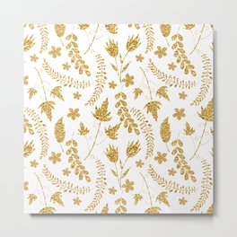 Gold flowers Metal Print