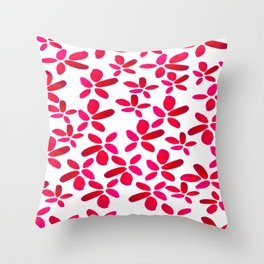 Red Watercolour Floral Pattern Throw Pillow