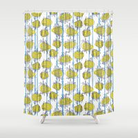 spaceship Shower Curtains featuring Spaceship Shapes by Pippa Stewart